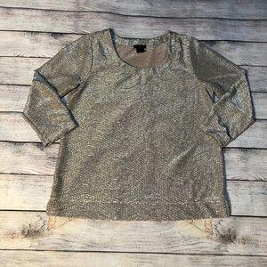 Ann Taylor Petite 3/4 Sleeve Light Gold Top
